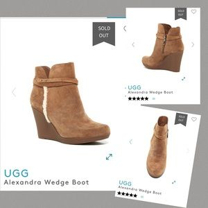 Ugg Alexandra Wedge Boot Brown Womens 8